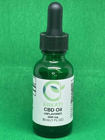 Dropper Bottle of Unflavored 2000mg CBD Oil on green background