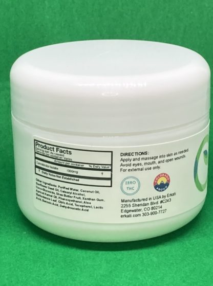 Back view of 1000mg Unscented CBD Lotion on green background