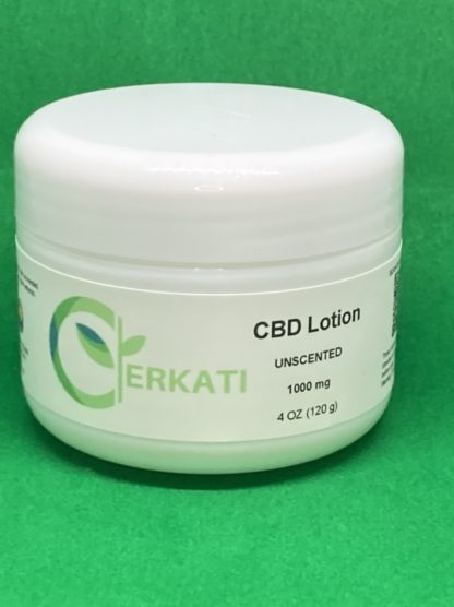 Front view of 1000mg Unscented CBD Lotion on green background