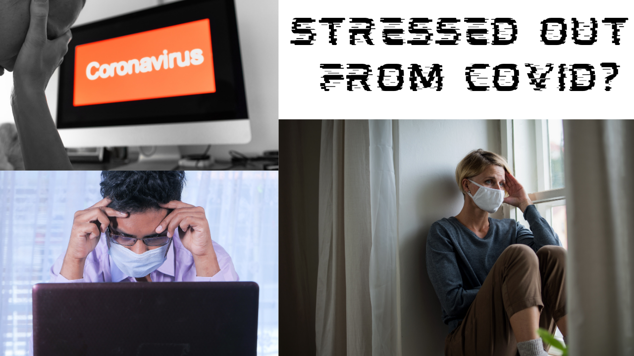 a man in a mask, a man at a computer and a masked woman next to a window stressed out from covid-19 coronavirus