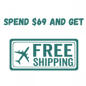 Spend $69 and get free shipping text with airplane and free shipping clip art