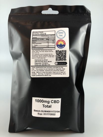 Back View of 25mg CBD Gummies Forty-Pack