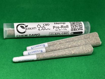 One packaged Chem Dawg Pre-Roll in Tube with three loose pre-rolls on green background
