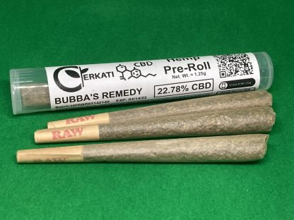 Three pre-rolled cones of bubba's remedy hemp with a package tube.