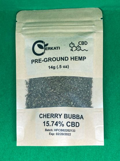 Single Kraft Package of Cherry Bubba Pre-Ground Hemp front on green background