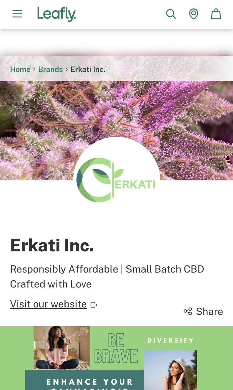 Erkati business profile page on Leafly.com - mobile view